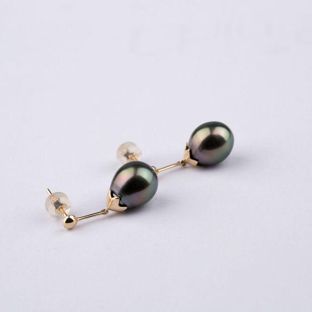 Free Shipping Luminous 9 5 11 5mm Green Genuine Tahitian Pearl Drop Earrings 14k Yellow Gold