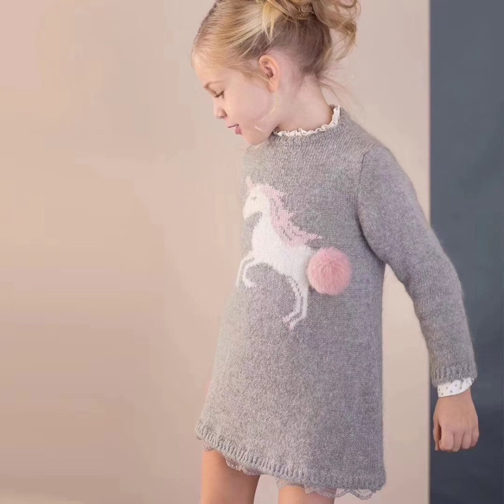 Autumn winter girls dresses baby girls wool dress long sleeve wool knitted dress Unicorn pattern knitted baby girls dresses балетки 13 1