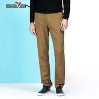 Seven7 Brand Autumn Winter Warm Pants Men Formal Dress Pants Wool Cotton Casual Pants Male Straight
