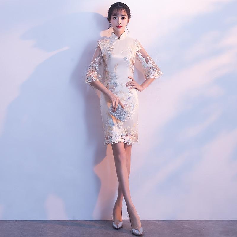 Элегантный Для женщин Шампанское Кружева от Qipao Oriental Свадебное платье Благородный цветок Cheongsam классический Винтаж вечерние платья Vestidos