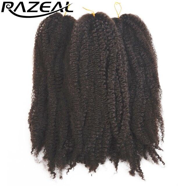 "Razeal Afro Kinky curly hair Extensions 18"" Synthetic Braiding Hair 6PCS  black Crochet Braids High Temperature Fiber"