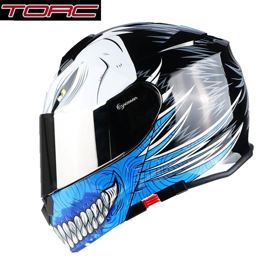 Free shipping 1pcs TORC Full Open Face Fashion Silver Lens Modular Moto Helmet Flip Up Dual Visor ABS DOT ECE Motorcycle Helmet