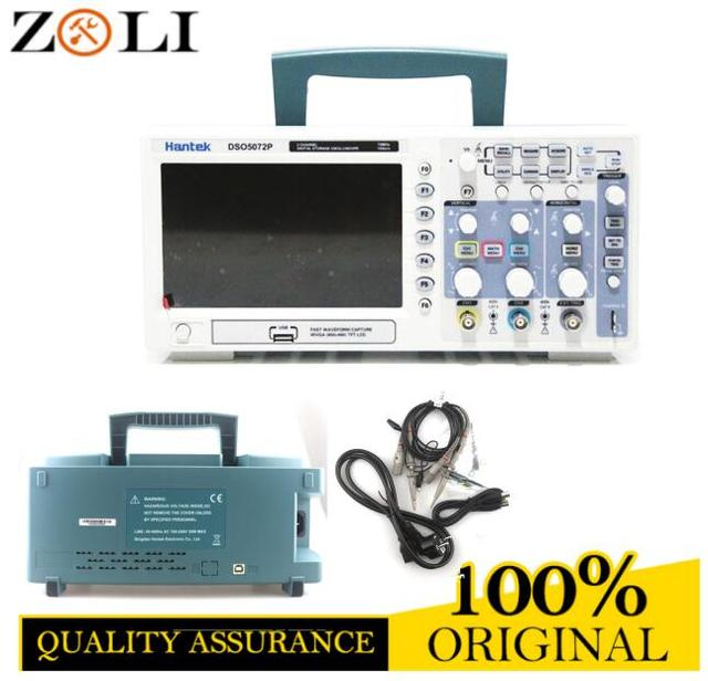 Big Promo 2017 Hantek DSO5072P 70MHz 2 Channel Benchtop Oscilloscope 1GSa/s Real Time Sample Rate 7'' LCD Display Free Shipping dhl