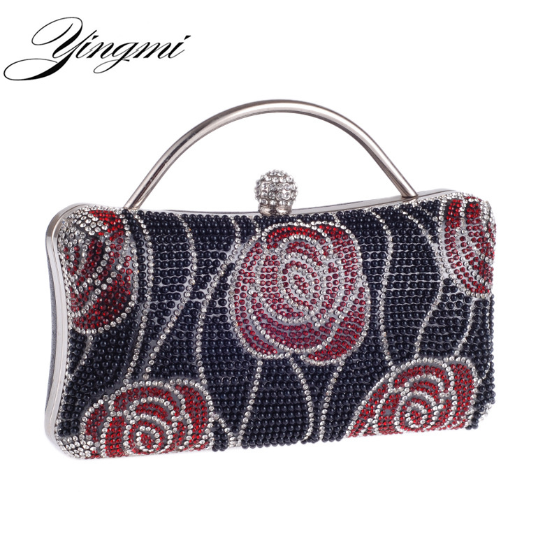 YINGMI Flower Beaded Women Evening Bags With Handle Chain Shoulder Day Clutches Purse Printed For Wedding Party Dinner Bags sekusa women evening bags chain shoulder messenger bag beaded rhinestones handbags with handle day clutches for wedding