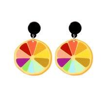 CRLEY Fashion Colorful Acrylic Fruit Earrings Punk Girl Rainbow Lemon Drop Cool Hiphop Night Club Female Jewel