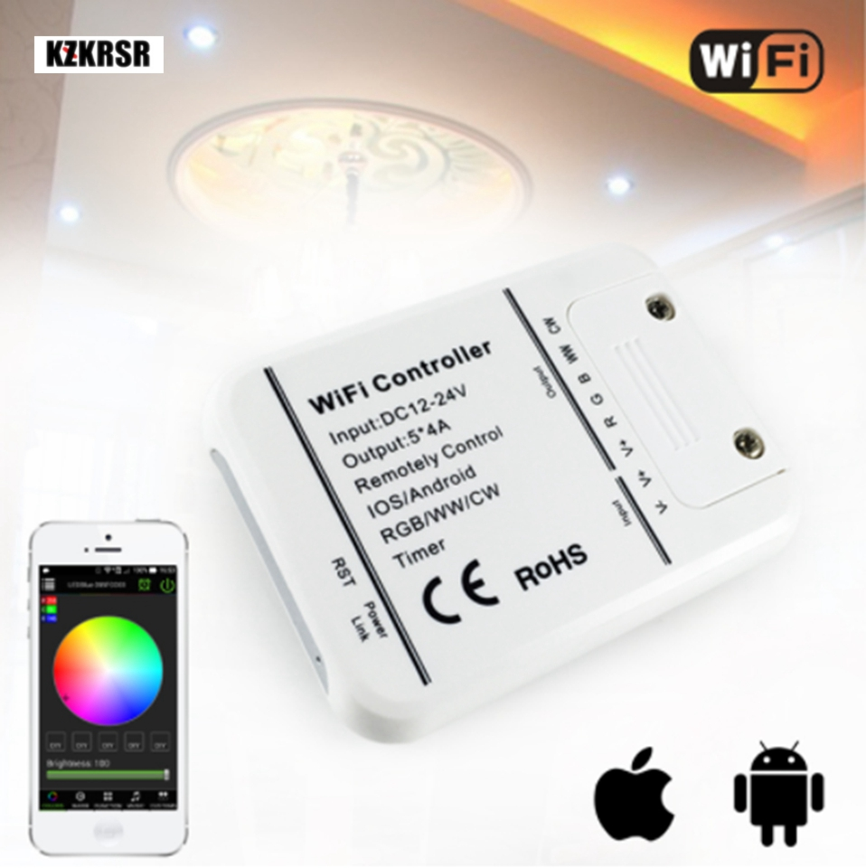 DC12V 24V Wifi LED Controller RGB/RGBW 16 Million Colors Music Timer Mode Wifi Control by IOS/Android Smartphone Free Shipping wireless wifi led rgb strip controller for iphone android 2 3 smartphone white dc 7 5 24v free shipping
