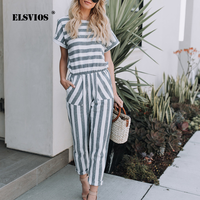 ELSVIOS Striped printed rompers women Casual Streetwear   jumpsuits   with pocket 2018 Summer new high waist playsuits overalls
