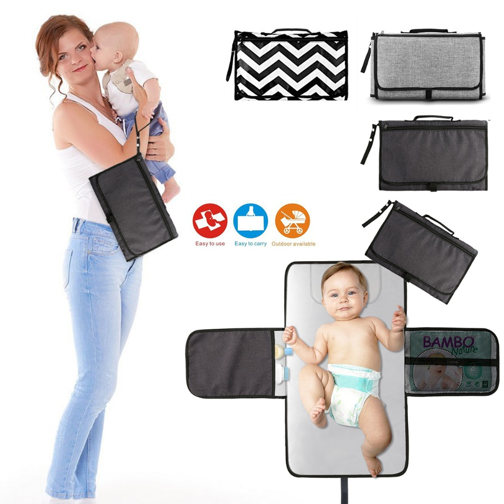 Baby Portable Foldable Washable Compact Travel Nappy Diaper Changing Mat Waterproof Baby Floor Mat Change Play Mat & Storage Bag