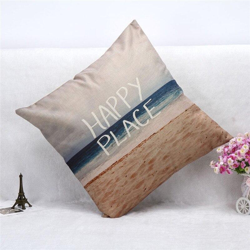2017 hidden zipper pillow slip sea beach pillowcase home decal cushion case cover HAPPY PLACE words 45cm on sale
