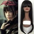 7А Glueless прямо девы волос полный парик шнурка прямые волосы с взрыва парик шнурка для женщин высокий хвост волосы парик фронта шнурка