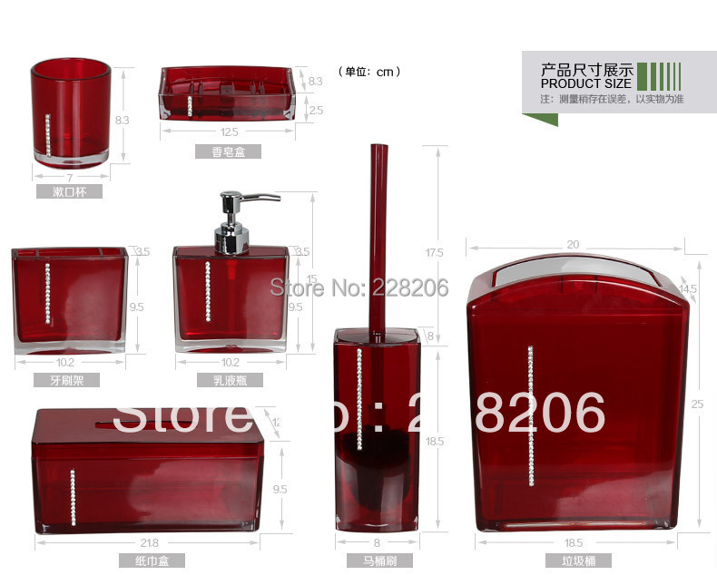 Diamond Acrylic Bathroom Set 7 Piece Supplies Five Colors Bath In Accessories Sets From Home Garden On