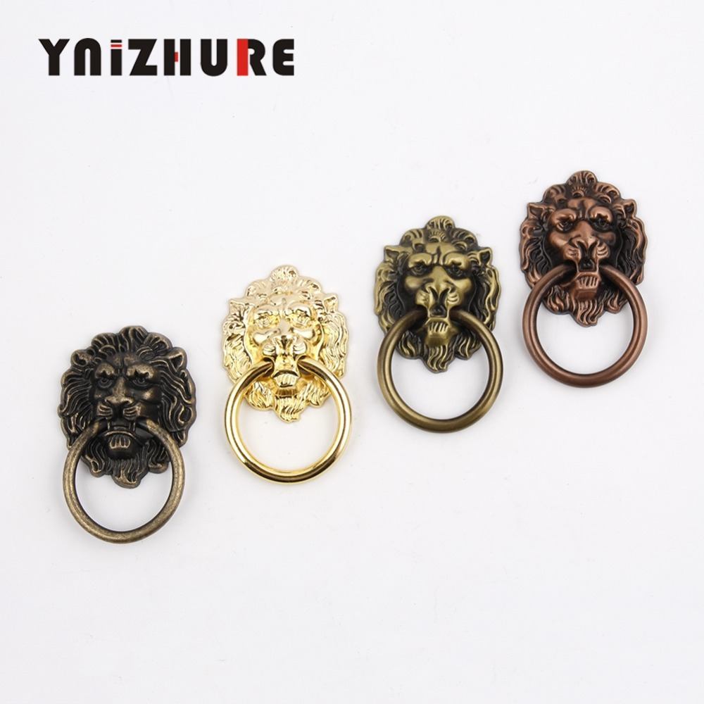 Antique Furniture Handles Vintage Lion Head Cabinet Knobs and Handles Furniture Door Cabinet Drawer Pull Handle Knob Ring 10 pcs vintage furniture handles cabinet knobs and handles cupboard door cabinet drawer knobs antique shell furniture handle