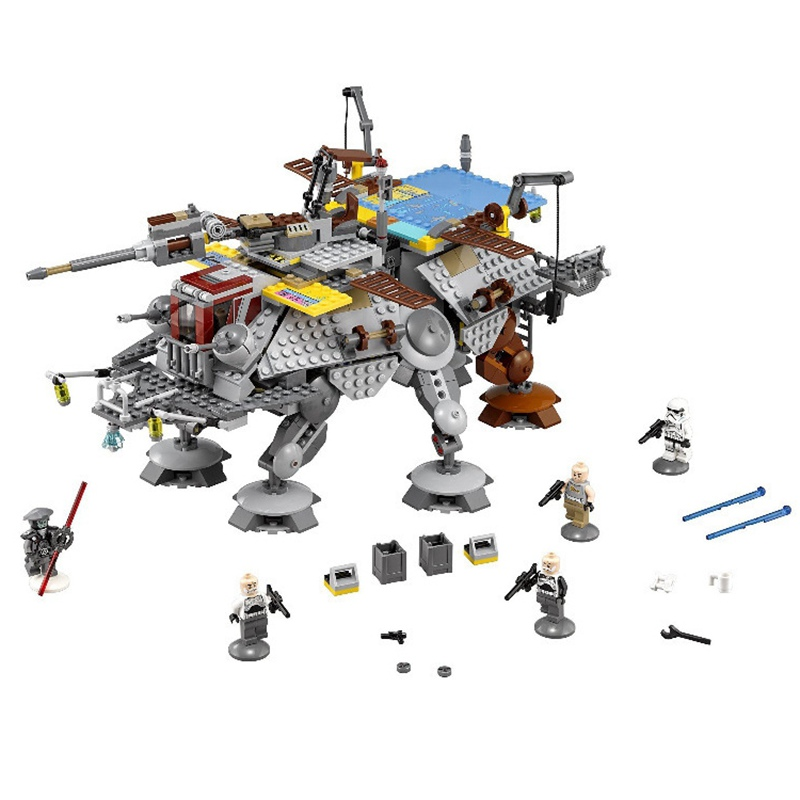 Compatible Legoe 75157 Star Wars Captain Rex's AT-TE Building Blocks Bricks Starwars Boy Birthday Toys for Children Lepin 05032 lepin 1022pcs star series wars captain rex s at te building blocks brick lepin 05032 boys toys gift compatible legoingly 75157