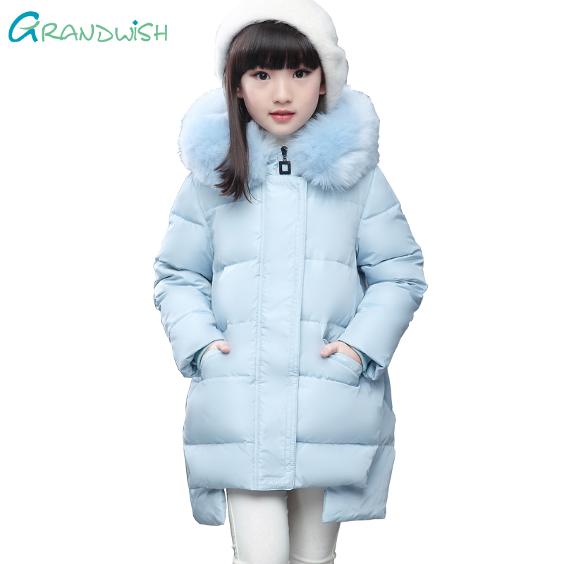Grandwish Winter Fur Collar Hooded Down Jacket for Girls Down Coats Warm Long New Year Fashion Clothes for Teens 6T-12T,TC193 100% white duck down women coat fashion solid hooded fox fur detachable collar winter coats elegant long down coats