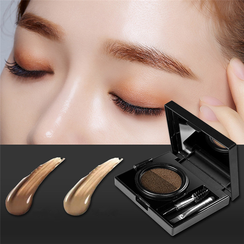 1pc Eyebrow Dye Cream Eyebrows Powder Natural Air Cushion Double Color Eyebrows Seal Waterproof Mascara Eye Makeup Cosmetics Beauty Essentials