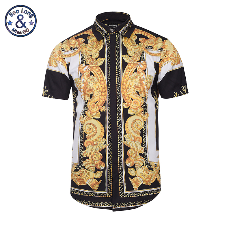 Hawaiian Shirts Summer Style Men Short Sleeve Floral Dress Shirts Unique Medusa Shirt Fashion 3D Print Luxury Harajuku Hipster