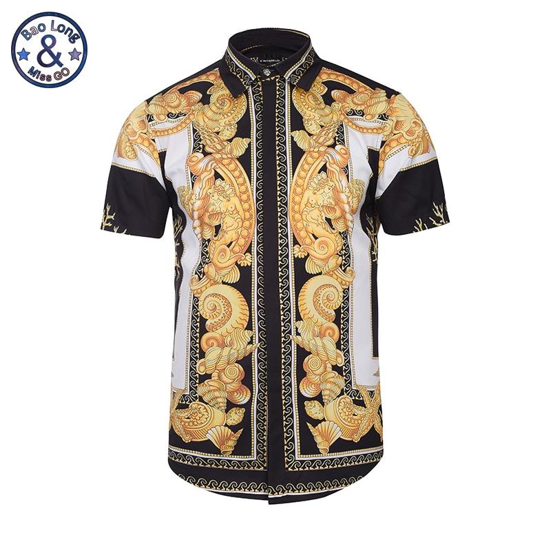 Hawaiian Shirts Summer Style Men Short Sleeve Floral Dress Shirts Unique Medusa Shirt Fashion 3D Print Luxury Harajuku Hipster