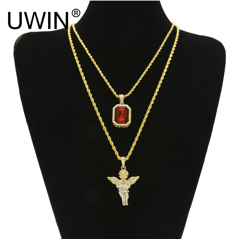 UWIN Mens Iced Out Hip Hop Jewelry Necklace Set Micro Square Crystal With Full Rhinestone Angel Wing Pendant Necklace Chain