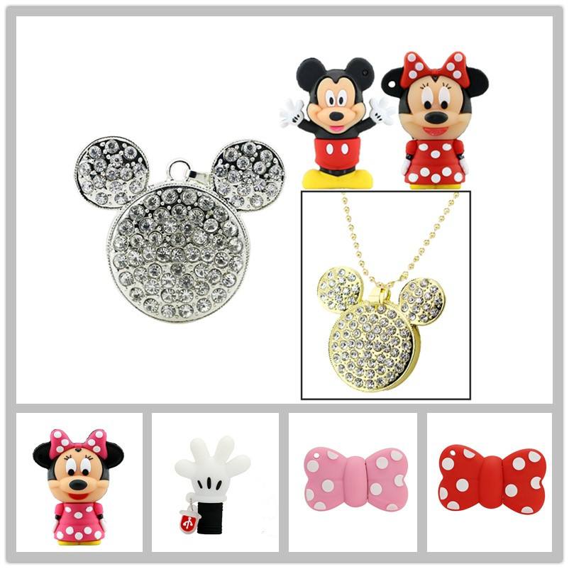 Pendrive Cute Minnie Mouse Bowknot USB Flash Drive 8GB 128GB Diamond Mickey Necklace USB Stick External Memory Storage Pen Drive