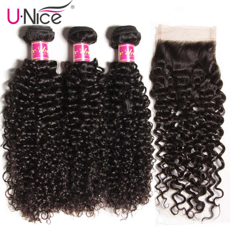 UNice Hair Virgin Curly Weave Human Hair With Closure 4/5PCS Brazilian Virgin Hair Weave Bundles with Closure Swiss Lace Hair