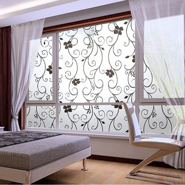 New sweet 45x100cm frosted privacy cover glass window black floral flower sticker film office decor