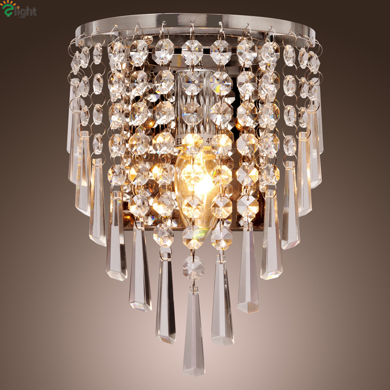 Modern Lustre Crystal Led Wall Lamp Fixtures Gold/Chrome Metal Bedroom Led Wall Lights Living Room Wall Light Led Wall Sconce new design nature white 2heads 6w 30cm led modern crystal wall lights lamp sconce factory wholesale led lightings