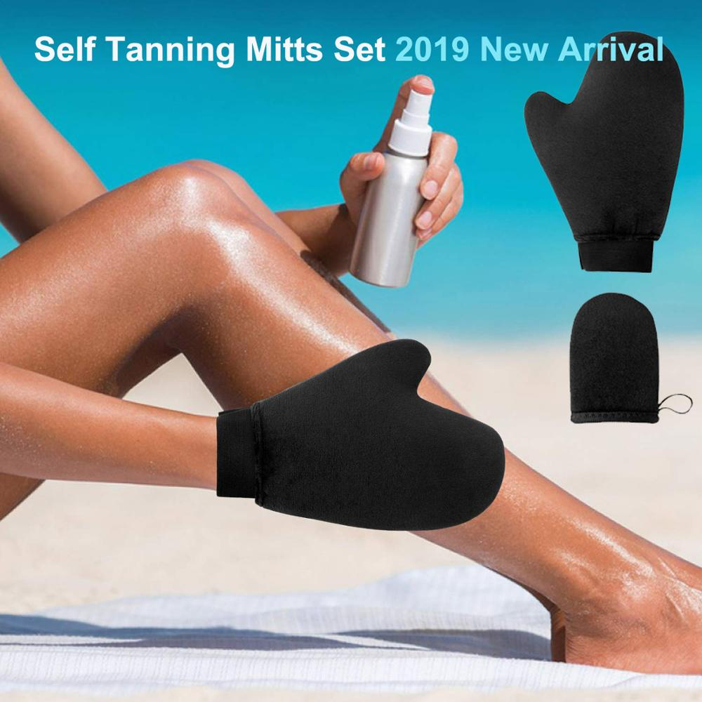 2019 New Sunless Body Self Tanning Mitt автозагар Bronzed Cream Applicator Gloves  ABSORBS LESS LOTION NEVER LEAKS, Bla