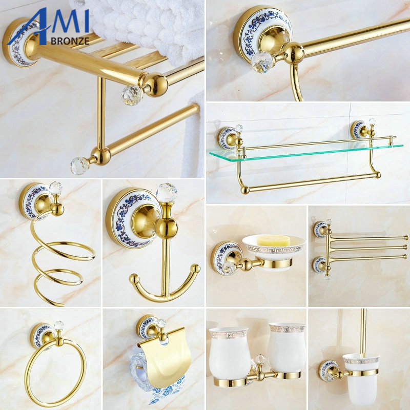 82GCP Series Golden Polished Crystal & Porcelain Bathroom accessories Bath Hardware Set Towel Shelf Towel Bar Paper Holder Hook 81cp series chrome polished porcelain bathroom accessories bath hardware towel shelf towel bar paper holder cloth hook