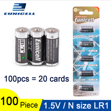 100PCS 1.5V N Size Alkaline duty Battery Primary and Dry Batteries LR 1 AM5 E90 MN9100 for Toys; 20 Cards 600mAh LR1