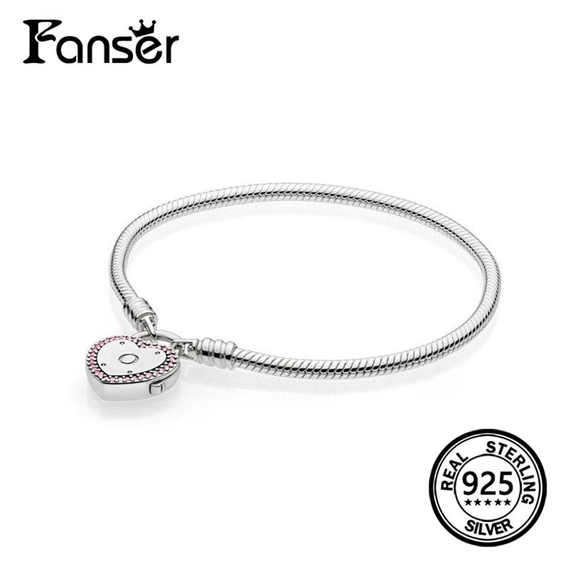 FANSER Heart Lock Your Promise Bracelet Elegant 100% S925 Pure Silver Original Copy PANDORS Fancy Fuchsia Pink & Clear CZ chain
