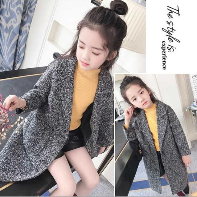 5b45531c7e8e 2018 Fall Winter Girls Leisure Woollen Jacket Children s Woolen ...