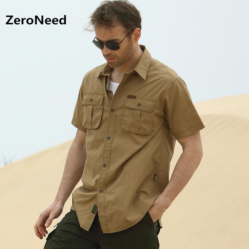 Short sleeve shirt men pockets outdoors leisure military for Mens two pocket short sleeve shirts