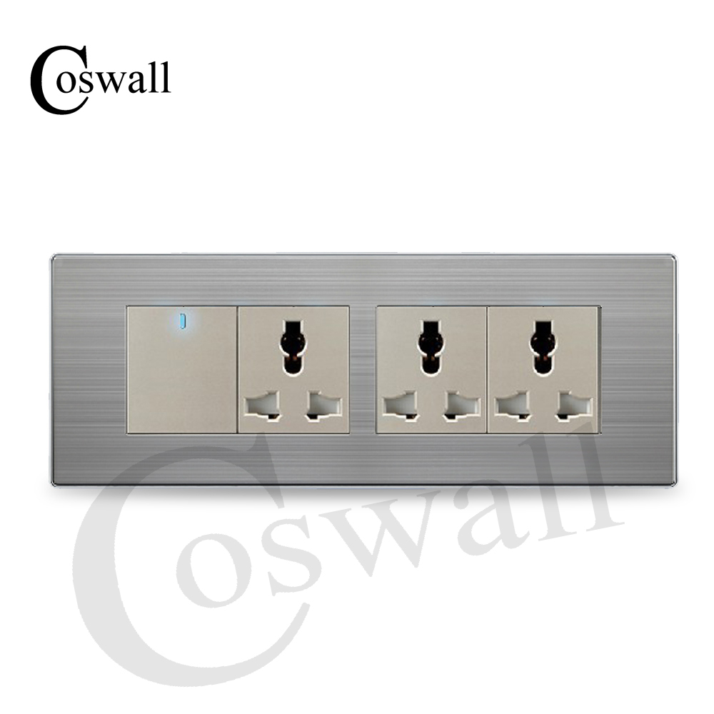 Coswall Luxury Universal Power Socket 3 Way Wall Outlet With 1 Gang Switch 2 Stainless Steel Panel 19772mm In Electrical Sockets From Home Improvement