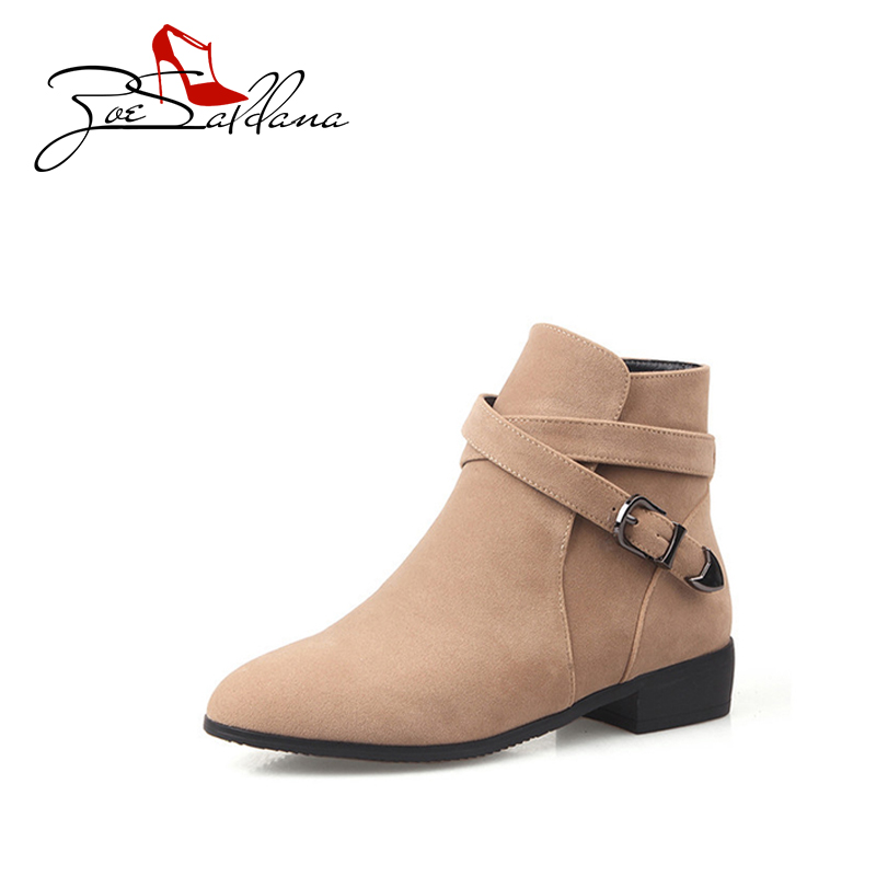 Zoe Saldana 2017 Flock Round Toe Flat Martin Ankle Buckle Autumn Shoes Women  Winter Boots энциклопедия популярных программ dvd