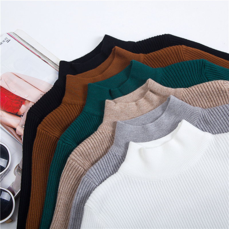 Chompas de mujer para el invierno 2018 Autumn Winter Women Sweaters and Pullovers Half Turtleneck Long Sleeve Sueter Mujer