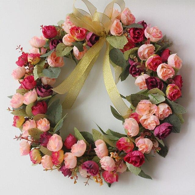 Artificial Wreaths Decorative Garland Floral Wreaths Wedding Hanging Door  Wedding Background
