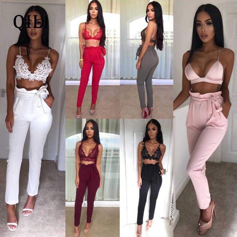 QILI Women Ruffles Pencil Pants Trousers High Waits Pockets Belted Slim Long Pants Elegant Fashion Autumn Lady Pants White Black