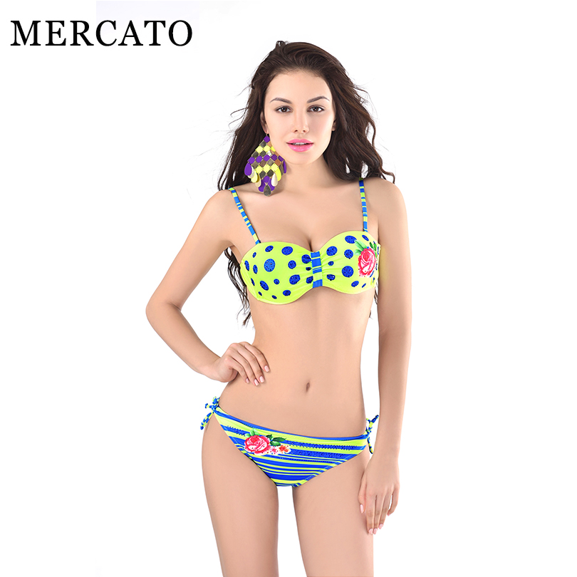 Superb Retro Style Bathing Suits Part - 14: MERCATO Bikinis New Style Simple Model Sexy Retro Dots Printing Swimsuit  Halter Blue Stripes Women Swimsuit Beach Bathing Suits
