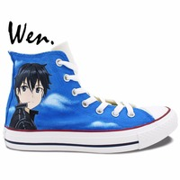 Blue Anime Converse All Star Sword Art Online Kirito Asuna Yuuki Painted Shoes Men Women S