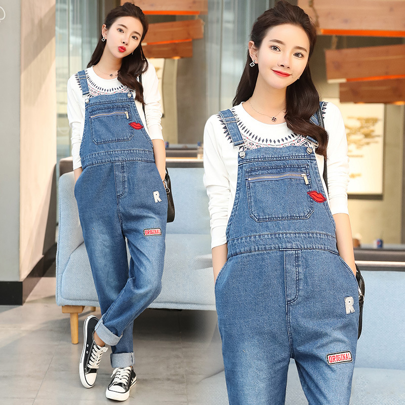 Maternity Casual Loose Denim Jean Bib Pregnant Harem Overalls Jumpsuits Overalls Pregnant Jeans Denim Trousers H97 afs jeep autumn jeans mens straight denim trousers loose plus size 42 cowboy jeans male man clothing men casual botton page 7