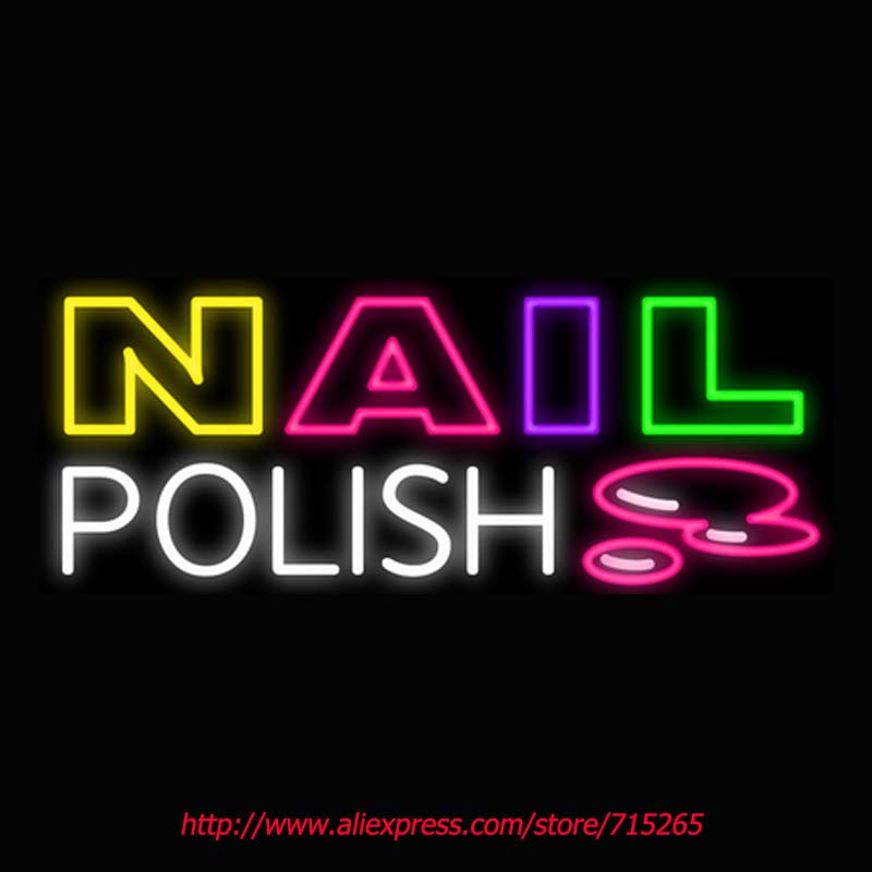 Nail Polish Neon Signs Board Neon Bulbs Light Real GlassTube Handcrafted Beer Bar Pub Led Signs Business Shop Display 30x12