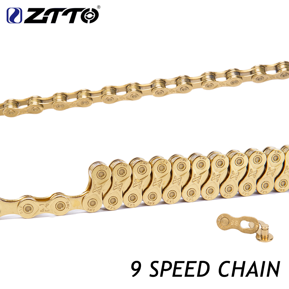 ZTTO MTB Mountain Bike Road Bicycle 9 Speed Chain Gold Compatible for Bicycle Parts K7 1 pair ztto mtb mountain bike road bicycle parts 6s 7s 8s 9s 10s 11s speed magic master missing link for k7 chain