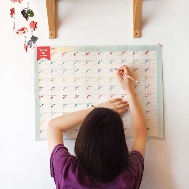 Kalender Neue 100 Tag Countdown-kalender Lernen Zeitplan Periodische Planer Hängen Kalender Für Kinder Studie Planung Lernen Liefert Buy One Give One