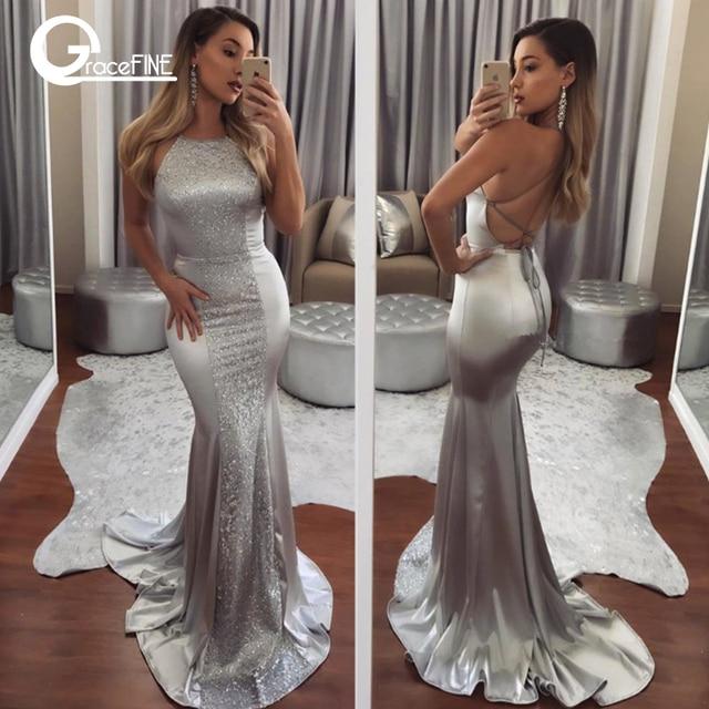 0e70e563 Fashion Women Long Dress Low back Bridesmaid Silver Strapless Sequin  Fishtail Maxi Night Dresses Female Slim Backless Vestidos