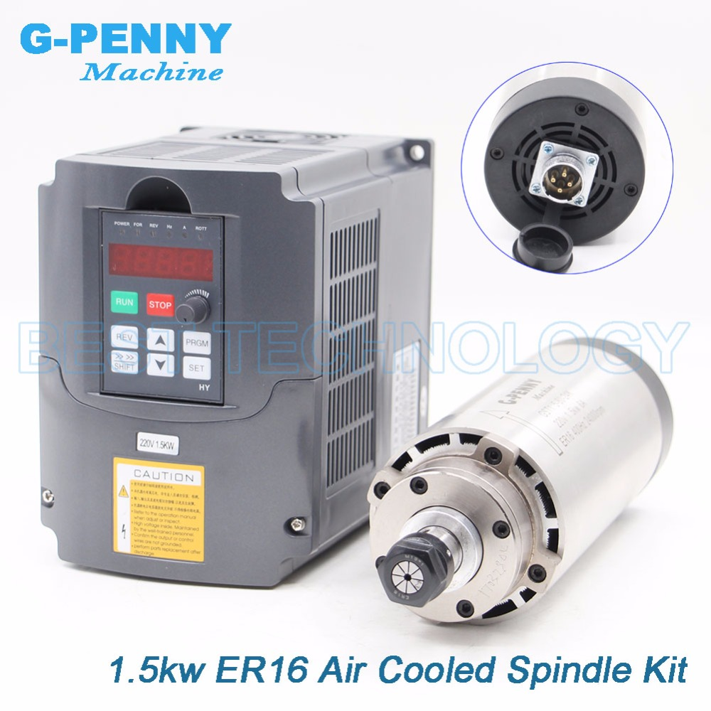 New Arrival 1 5kw ER16 air cooled spindle motor kit milling spindle air cooling 4 pcs