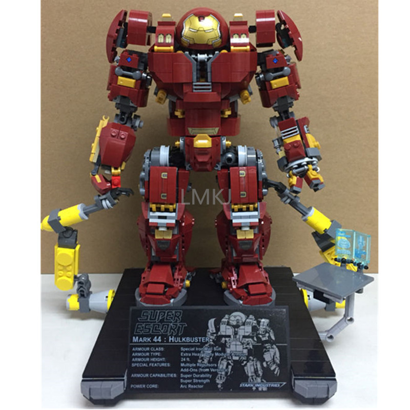 1527Pcs Model Building Bricks Blocks Super Hero buster Legoing Iron Man Anti Hulk Mech Set Genuine Serie 76105 Toys for child single sale large figures super cool hulk buster thanos legoing dogshank venom iron man building blocks toys gifts kids toys