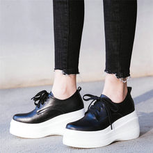 NAYIDUYUN  Tennis Shoes Women Cow Leather Wedges High Heel Ankle Boots Round Toe Platform Trainers Casual Punk Creepers