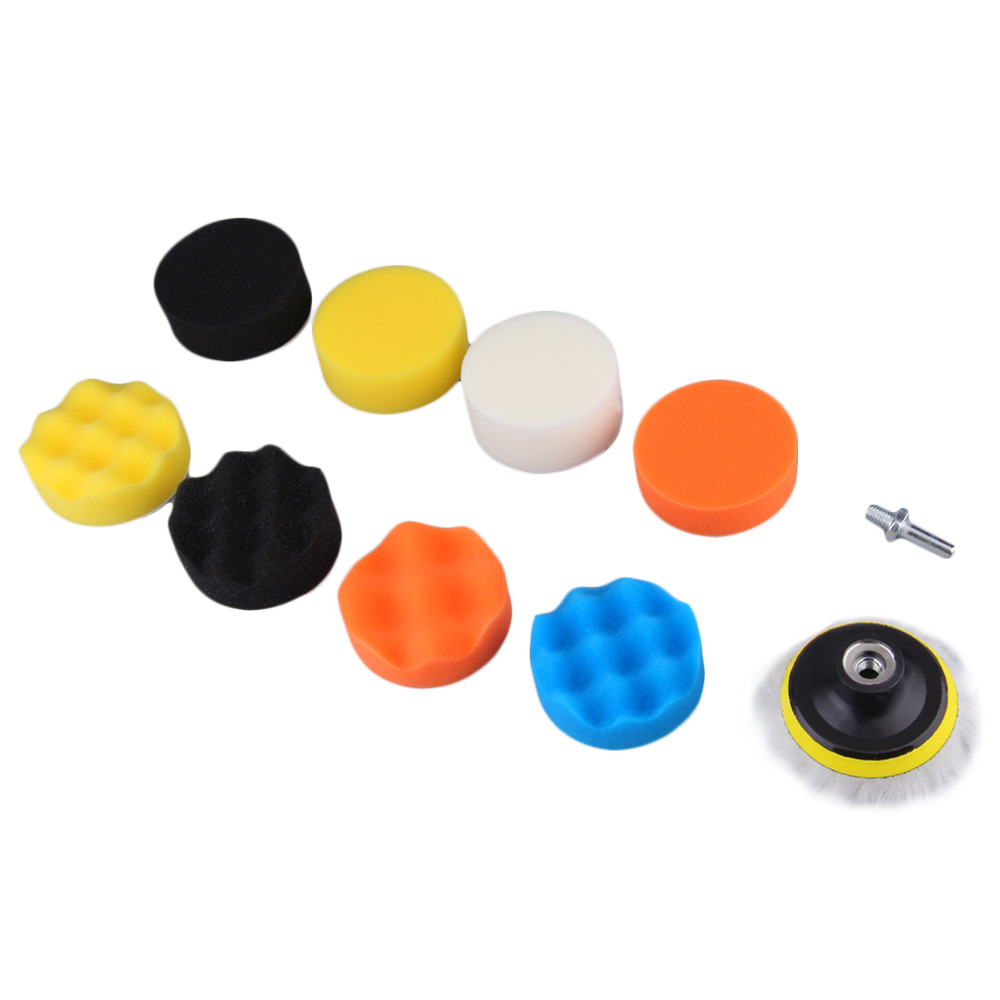 10 Pieces Gross Polishing Buffer Pad Set 4 Buffing Pad Kit with 3 Pads 1 Backing Plate 5 Sanding Paper and 1/4 Drill Adaptor