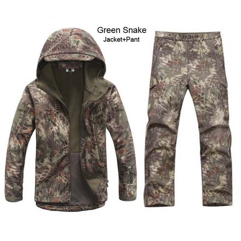 Camouflage Tactical Uniform Kryptek TAD Soft Shell Jacket Waterproof Camping Hiking Hunting Fishing Clothing Jacket Pants Set free shipping hunting clothing pants jungie tactical bionic camouflage fishing bird watching hunting set water proof scratch