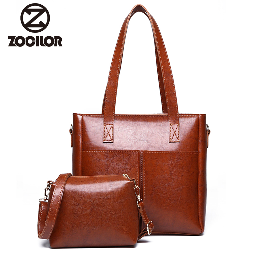 Retro 2 sets Women Handbag Leather Shoulder Bags Famous Brand Designer Women Messenger Bags Ladies Casual Tote Bag sac a main esufeir brand genuine leather women handbag cow leather patchwork shoulder bag fashion women messenger bag tote bags sac a main